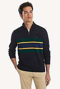타미 힐피거 Tommy Hilfiger Quarter Zip Stripe Mockneck Sweater,NAVY BLAZER/ MULTI