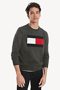 타미 힐피거 Tommy Hilfiger Flag Crewneck Sweater,CHARCOAL HEATHER