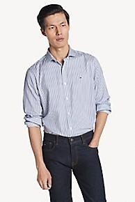 타미 힐피거 Tommy Hilfiger Custom Fit Shirt In Cotton Dobby,BLUE STRIPES