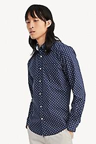 타미 힐피거 Tommy Hilfiger Custom Fit Shirt In Stretch Cotton,PEACOAT