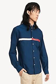 타미 힐피거 Tommy Hilfiger Custom Fit Shirt In Classic Cotton,SKY CAPTAIN
