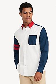 타미 힐피거 Tommy Hilfiger Custom Fit Shirt In Oxford Cotton,WHITE/RED/BLUE