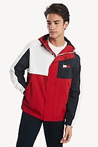 타미 힐피거 Tommy Hilfiger Hooded Colorblock Yacht Jacket,APPLE RED