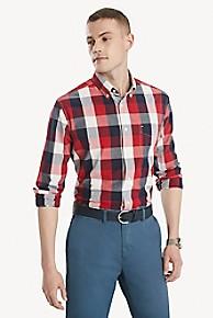 타미 힐피거 Tommy Hilfiger Classic Fit Shirt In Cotton Poplin,HAUTE RED