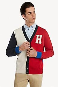 타미 힐피거 Tommy Hilfiger Signature Colorblock Cardigan,SNOW WHITE HEATHER / APPLE RED