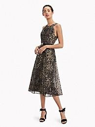 타미 힐피거 Tommy Hilfiger Essential Leopard Print Midi Dress,GUN METAL LEOPARD