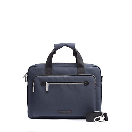 Tommy Hilfiger Twill Laptop Bag - Midnight - Os Tommy Hilfiger Men's Bag. Styled From Sturdy Twill, Our Computer Bag Is Designed To Safely (And Handsomely) Tote Your Laptop. Perfect On The Go With Double Carry Handles And A Handy Removable, Adjustable Shoulder Strap.  Satchel Silhouette In Cotton With Silver-Tone Hardware. 15'' X 2.5'' X 11'' Zip Closure, Interior Pockets, Lined, Removable Adjustable Shoulder Strap Included.  Spot Clean. Imported.