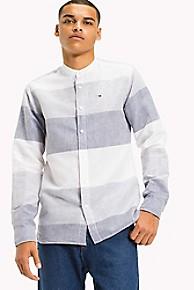 타미 힐피거 Tommy Hilfiger Cotton Linen Collarless Shirt,BLACK IRIS / MULTI