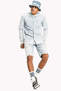 타미 힐피거 Tommy Hilfiger Cotton Linen Camp Shirt,LIGHT INDIGO