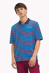 타미 힐피거 Tommy Hilfiger Multi Stripe Polo,BRILLIANT BLUE/ MULTI