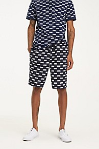 타미 힐피거 Tommy Hilfiger Reversible Allover Logo Short,BLACK IRIS / MULTI