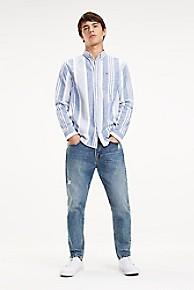 타미 힐피거 Tommy Hilfiger Stripe Oxford Shirt,BLUE