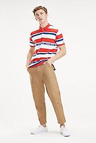 타미 힐피거 Tommy Hilfiger Logo Stripe Polo,FLAME SCARLET / MULTI