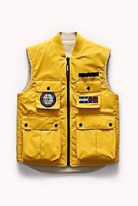 타미 힐피거 리버시블 베스트 Tommy Hilfiger Tommy Jeans Outdoors Reversible Vest,LEMON CHROME / SHERPA BEIGE