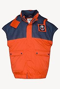 타미 힐피거 Tommy Hilfiger Oversized Hooded Vest,FLAME SCARLET / DARK INDIGO