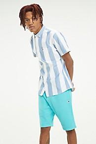 타미 힐피거 Tommy Hilfiger Oxford Stripe Short-Sleeve Shirt,BLUE / WHITE