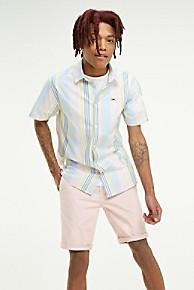 타미 힐피거 Tommy Hilfiger Pastel Stripe Short-Sleeve Shirt,PEACHSKIN / MULTI