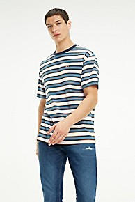 타미 힐피거 Tommy Hilfiger Organic Cotton Retro Stripe T-Shirt,SAXONY BLUE / MULTI