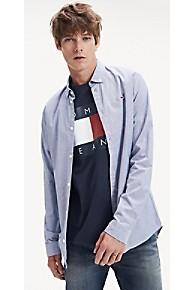 타미 힐피거 Tommy Hilfiger Stretch Cotton Oxford Shirt,BLACK IRIS