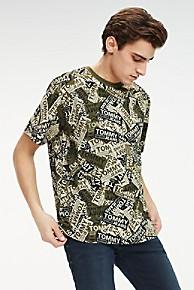 타미 힐피거 Tommy Hilfiger Organic Cotton Sticker T-Shirt,OLIVE NIGHT