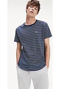 타미 힐피거 Tommy Hilfiger Fine Stripe T-Shirt,BLACK IRIS / MULTI