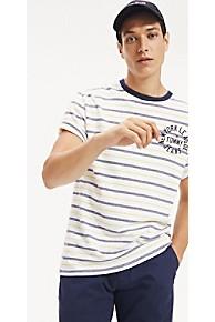 타미 힐피거 Tommy Hilfiger Stripe Logo T-Shirt,CLASSIC WHITE / MULTI