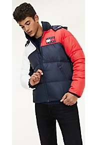 타미 힐피거 Tommy Hilfiger Recycled Shell Flag Puffer,BLACK IRIS / MULTI
