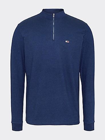 타미 힐피거 Tommy Hilfiger Zip Neck Long-Sleeve T-Shirt,BLACK IRIS