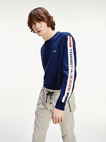 타미 힐피거 Tommy Hilfiger Long-Sleeve Logo Tape T-Shirt