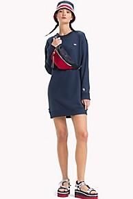 타미 힐피거 Tommy Hilfiger Tommy Classics Sweatshirt Dress,BLACK IRIS
