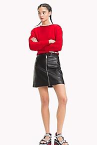 타미 힐피거 Tommy Hilfiger Leather-Like Zipper Skirt,TOMMY BLACK
