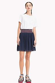 타미 힐피거 Tommy Hilfiger Chiffon Smocked Skirt,BLACK IRIS