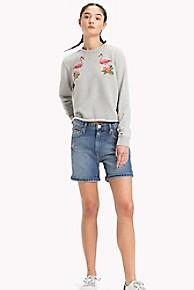 타미 힐피거 Tommy Hilfiger Flamingo Sweatshirt,LIGHT GREY HTR BC03