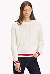 타미 힐피거 케이블니트 스웨터 2종 (블랙, 크림) Tommy Hilfiger Tipped Cableknit Sweater