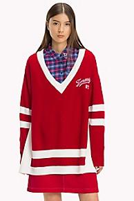 타미 힐피거 Tommy Hilfiger Varsity V-Neck Sweater,SAMBA / BRIGHT WHITE