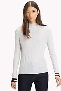 타미 힐피거 Tommy Hilfiger Tipped Mockneck Sweater,PALE GREY HEATHER