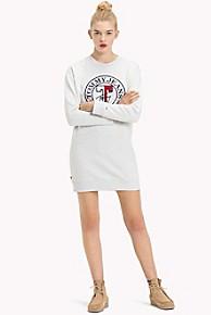 타미 힐피거 Tommy Hilfiger Logo Sweatshirt Dress,PALE GREY HEATHER