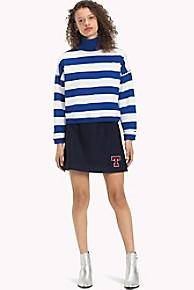타미 힐피거 Tommy Hilfiger Monogram Wool Skirt,BLACK IRIS