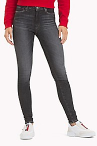 타미 힐피거 Tommy Hilfiger High Rise Skinny Black Jean,SKY GREY STRETCH