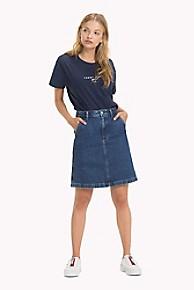 타미 힐피거 Tommy Hilfiger Stone Washed Denim Skirt,MID BLUE RIGID