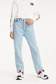 타미 힐피거 크레스트 캡슐 블리치 진 청바지 (손나은 착용) Tommy Hilfiger Crest Capsule Bleached Mom Jean,LIGHT BLUE DENIM