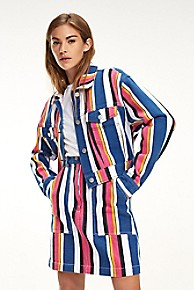 타미 힐피거 우먼 스트라이프 트러커 자켓 Tommy Hilfiger Color Stripe Trucker Jacket,BOLD MULTISTRIPE