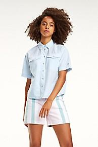타미 힐피거 Tommy Hilfiger Seersucker Camp Shirt,ALASKAN BLUE / CLASSIC WHITE
