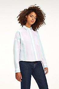 타미 힐피거 Tommy Hilfiger Boxy Multi Stripe Shirt,BOLD PASTEL STRIPE