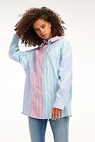타미 힐피거 Tommy Hilfiger Multicolor Stripe Shirt,CANAL BLUE/ MULTI STRIPE