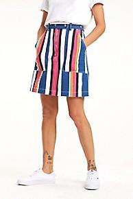 타미 힐피거 Tommy Hilfiger Stripe Carpenter Skirt,BOLD MULTISTRIPE