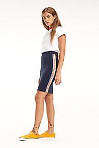 타미 힐피거 Tommy Hilfiger Stripe Logo Tape Skirt,NAVY