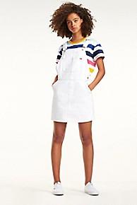 타미 힐피거 Tommy Hilfiger White Denim Overall Dress,OPTICAL WHITE
