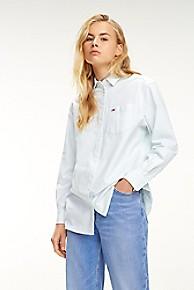 타미 힐피거 우먼 클래식 스트라이프 셔츠 Tommy Hilfiger Tommy Classics Stripe Shirt,CANAL BLUE / CLASSIC WHITE