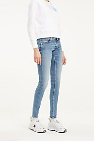 타미 힐피거 Tommy Hilfiger Faded Low Rise Skinny Fit Jean,OREGON LIGHT BLUE